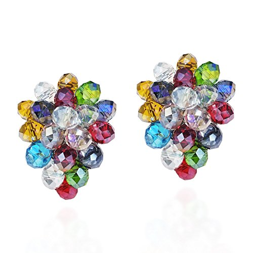 Tropical Forest Multicolor Fashion Crystals Grape Base Metal Clip On Earrings