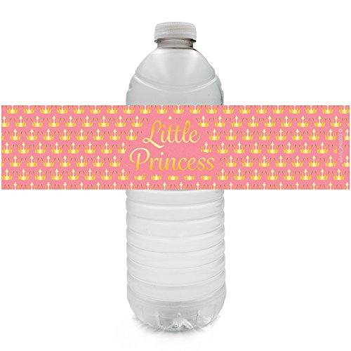 Pink and Gold Princess Party Water Bottle Labels (24 Count)