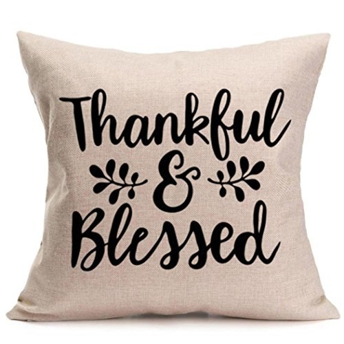 Balakie Thankful Blessed Soft Pillow Case Home Sofa Car Decor Cushion Cover Pillowcase (Pillow Lace Toss)