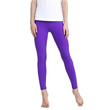 Pantalones de Yoga de Las Mujeres Color sólido Elástico Slim ...