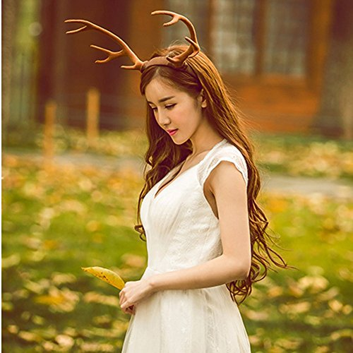 Forest Angel Fairy Lovely Photography Christmas Carnival Halloween Cosplay Fancy dress party Decor Big Reindeer Elk Antlers Hair band Headdress,Brown (Brown Angel Wig)