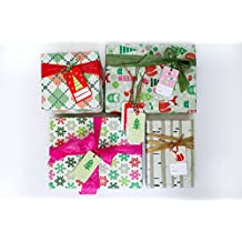 Christmas Family Fun Value Gift Wrap Set (Reindeer/ Birch Trees) - Eco-friendly Wrapping Paper – Reversible - Gift Wrap by Wrappily