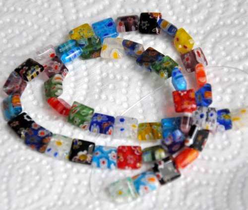 - Beading Station 48-Piece Square Millefiori Multi-Design Lampwork Glass Beads, 8 by 8mm