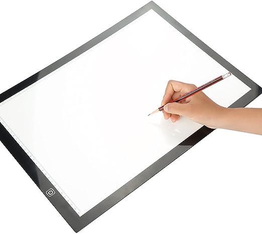 Mesas de Luz, A3 Mesas de Caja LED Portátil Ajustable Mesa de Luz Dibujo con Cable USB para Niñoo y Diseñadores pintura, Incluye bolsa y pinza: Amazon.es: Hogar