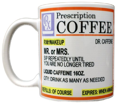 Rx Prescription Coffee Dr. Caffeine Mug White -