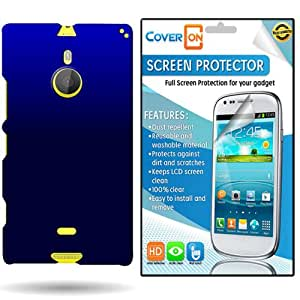 CoverON Nokia Lumia 1520 Hard Rubberized Slim Case Cover Bundle with Clear Anti-Glare LCD Screen Protector - Blue