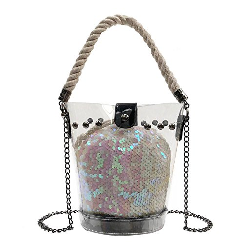 Handbag PVC Women Shoulder Beach Everpert Sequins White Bags Clear Rivet Messenger Bucket 4CqqOUxwv