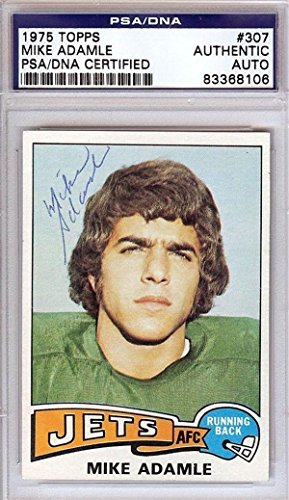 Mike Adamle Autographed Signed 1975 Topps Card  307 New York Jets   Psa Dna Certified   Nfl Autographed Football Cards
