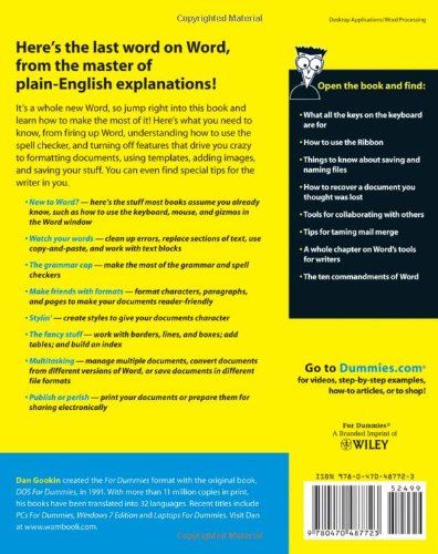 word 2010 for dummies amazon co uk dan gookin 9780470487723 books