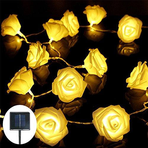Solar String Lights, Jaragar Outdoor Waterproof String Fairy Lights Rose Shape Solar Powered LED Decoration Lights for Patio Gardens Homes Landscape Wedding Party