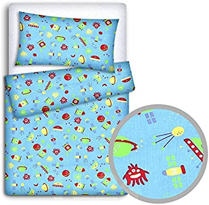 DUVET COVER 2PC TO FIT CRIB 80x70cm Big pink stars on white background BABY BEDDING SET PILLOWCASE