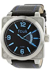FCUK Men's FC1066SBB Black Leather Strap Stainless Steel Watch