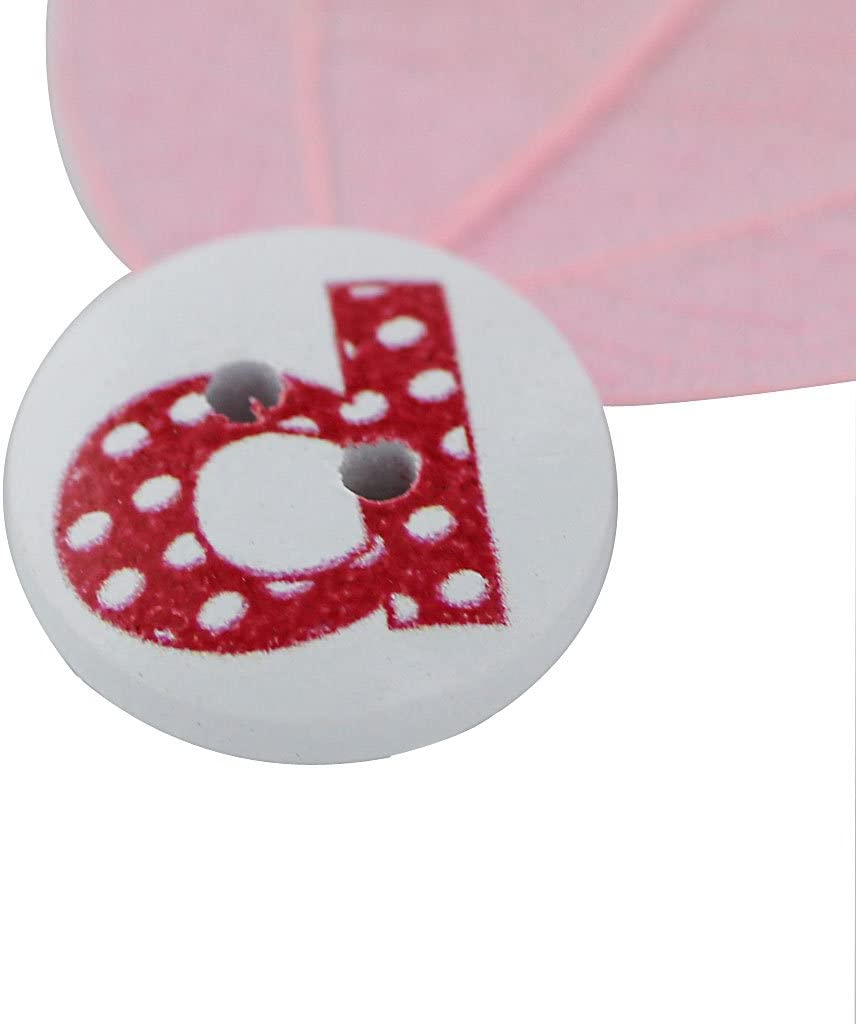Pack of 100 Round Shaped Alphabet Painted 2 Hole Wooden Sewing Buttons for Craft