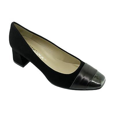 81a085e543801f Angelina® Isabelle Escarpins Bout Vernis Talon Carré Marque Chaussures  Femme Petites Pointures Tailles Cuir Noir
