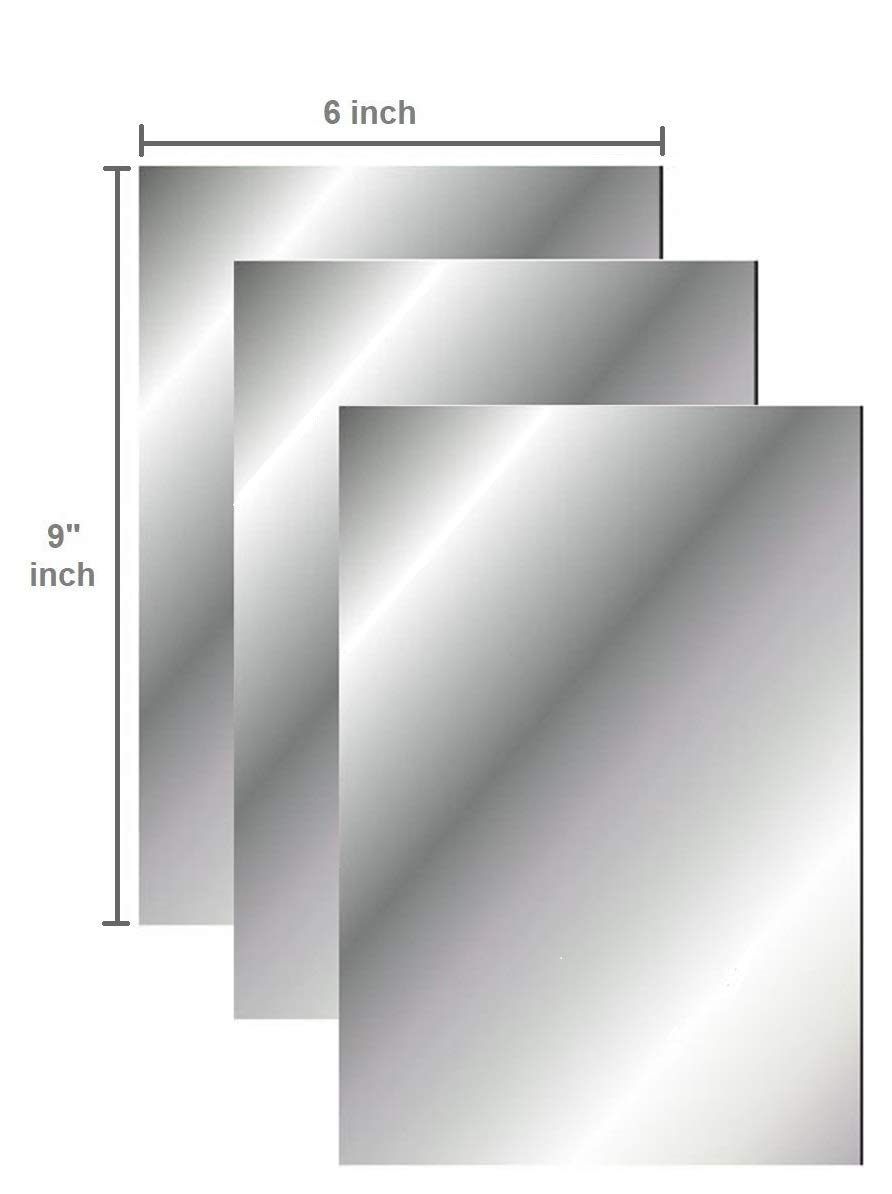 Q-Bics Flexible Mirror Sheets 6 X 9 Soft Non Glass Cut to Size Craft Plastic 3 Sheets PEEL OFF PROTECTIVE COVER SHEET Peel Back Sticker And Stick No Glue
