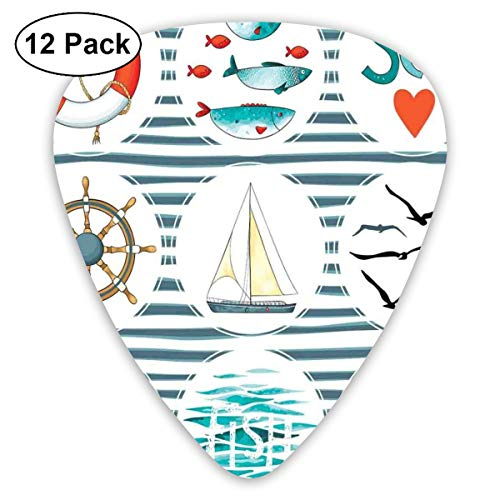 (Guitar Picks 12-Pack,Sea Set With Fishes Lifebuoy Gulls Lighthouse Marine Inspired Maritime Theme)