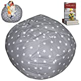 "EXTRA LARGE Stuffed Animal Storage Bean Bag Chair | Finest Storage, Hammock & Organizer for kids' Plush, Jumbo & Cuddly Toys | Premium Quality Cotton Canvas | Free E-Book 40"" (Grey)"