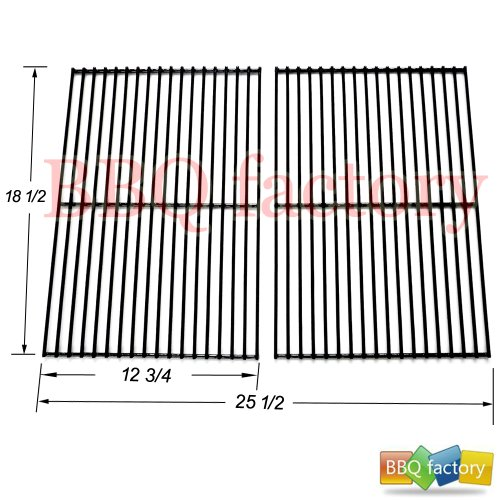 bbq factory Replacement Porcelain Coated Steel Wire Cooking Grid Set of 2 for Select Gas Grill Models By Charbroil, DCS, Kenmore, Master Chef, and Others