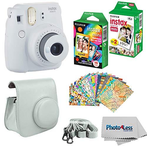 Fujifilm Instax Mini 9 Instant Film Camera - Fujifilm Instax Mini Instant Film, Twin Pack - Fujifilm Instax Mini Rainbow Film - Case for Fuji Mini Camera - Fuji Instax Accessory Bundle (Smokey White)