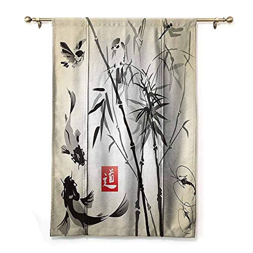 S Brave Sky Waterproof Roman Blinds,Traditional Japanese Decor Collection,Bamboo in The Bird and Fish Hand Drawn with Ink Image,Black Gray Ivory