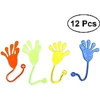 NUOLUX 12pcs Sticky Hands Toys Wacky Funny Stretchy Sticky Hands for Children Birthday Christmas Party Favors (Random Color)