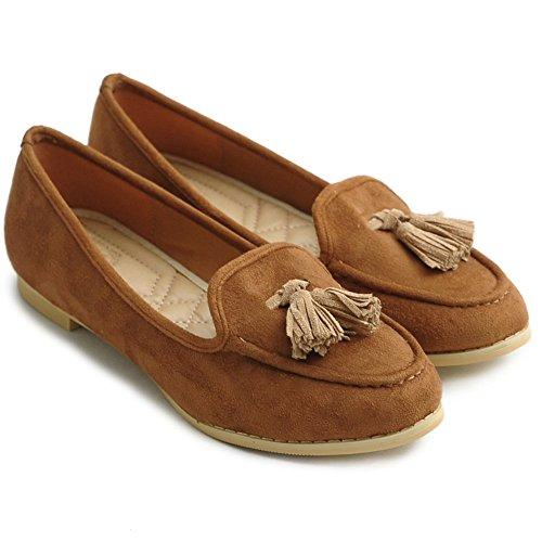 Ollio Mujeres Ballet Shoe Tassel Faux-suede Cute Flat Marrón