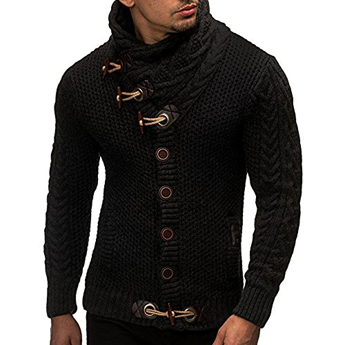 (Usstore   Men Autumn Winter Casual Cardigan Sweater Long Sleeve Coat Knitting Buckle Keep Warm Sweater Coats (❤Black, L))
