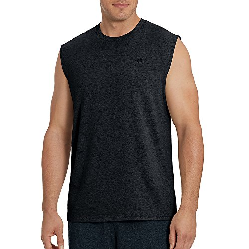 Champion Men's Classic Jersey Muscle T-Shirt, Granite Heather, L