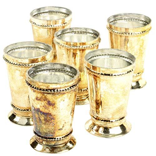 (Koyal Wholesale Glass Mint Julep Cup Vase, Bulk Set of 6, Centerpiece Vases, Mini Vase, Bud Vase Pilsner (Burnt Gold, 3