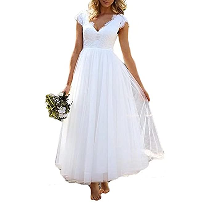 Fishlove Womens Vestidos De novia Tea Length V Neck Cap Sleeve Bridal Gowns