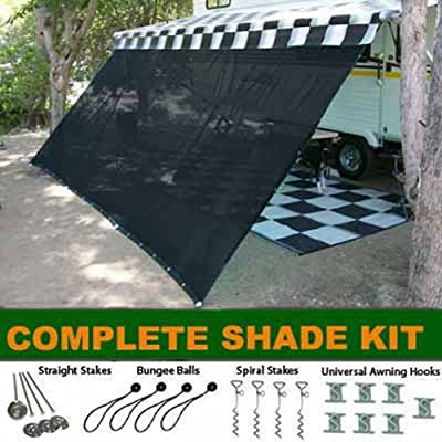 Black RV Awning Shade Complete Kit 10' X 16' Sun Shade Canopy Shelter