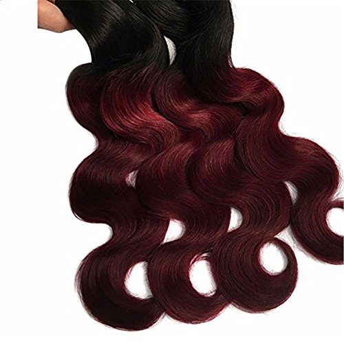 "Top Hair Brazilian Body Wave Hair Black To Red Wine Color Ombre Two Tone 3 Bundles With 4""X4"" Invisible Lace Closure Virgin Remy Hair And Body Wave Virgin Hair Bundles (T1B/99J,10"" With 10""12""14"" hot sale 2017"