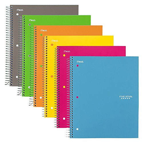 "Five Star Spiral Notebook, 3 Subject, College Ruled Paper, 150 Sheets, 11"" x 8-1/2"", 6 Pack (73479)"