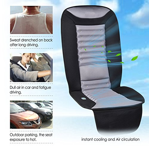 SNAILAX Cooling Car Seat Cushion 2 Levels Cool Fan Vibration Massager Motors On Lower Back Pad Truck Office Home Use AL252