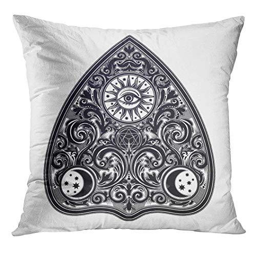 Heroga Throw Pillow Cover Vintage Magic Ouija Board Oracle Antique Boho Chic Halloween and Tattoo Wicca Witchcraft Spirituality Decorative Pillow Case Home Decor Square 18x18 Inches Pillowcase -