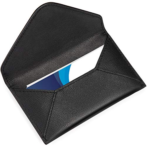 - MaxGear Genuine Leather Business Card Holder Pocket Business Card Case Professional Business Card Wallet with Magnetic Shut for Men and Women, Envelope Design,4.8x2.5x0.25 inches, Slim, Black