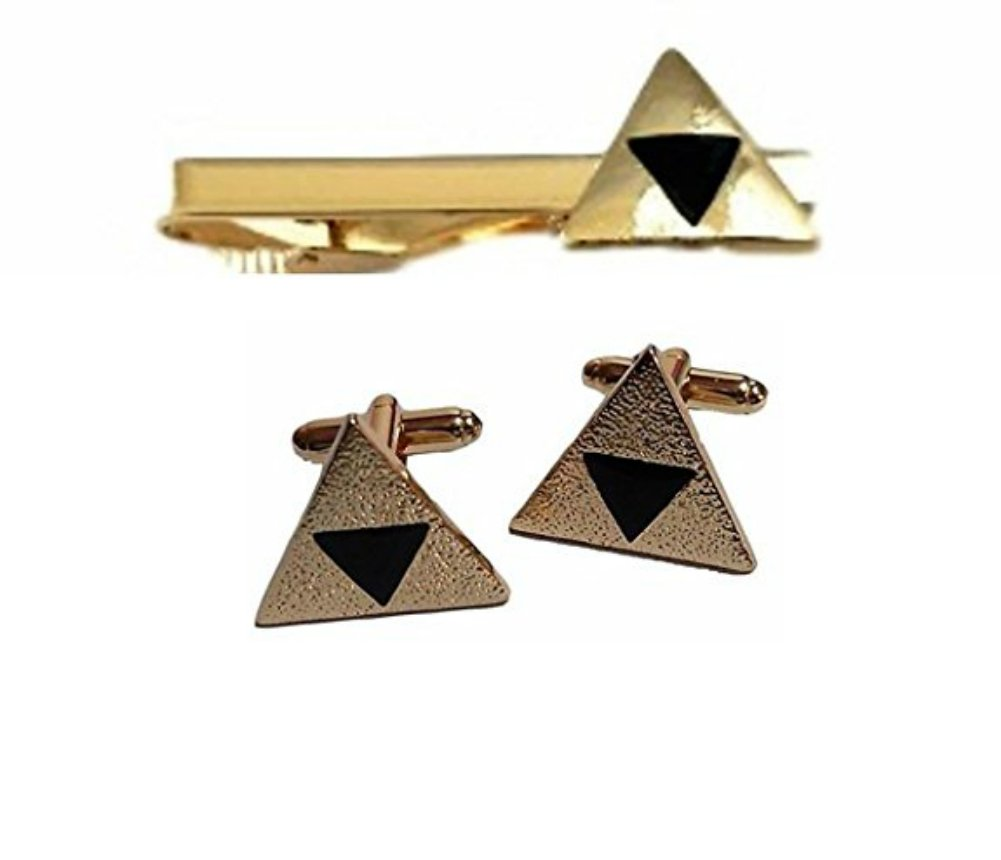 The Legend of Zelda Triforce Goldtone Tie Clip & Cufflinks Set