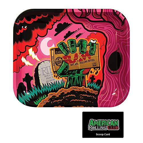 RAW Zombie Rolling Tray Includes Roll with Us Scoop Card (Large)