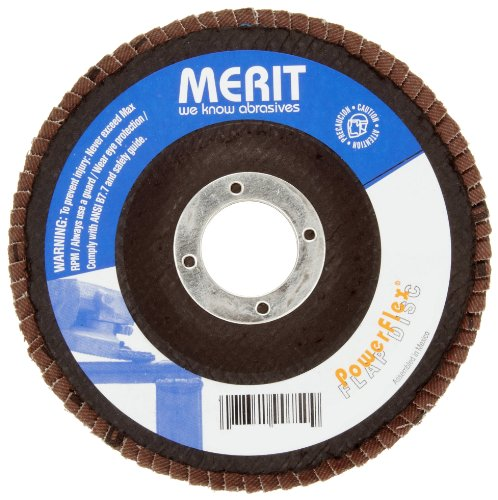 Merit Powerflex Abrasive Flap Disc, Type 27, Threaded Hole, Fiberglass Backing, Zirconia Alumina, 4-1/2
