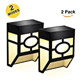 Greluna Solar Fence Lights,2 Modes Solar LED Outdoor Wall Lights for Deck, Fence, Patio, Front Door, Stair, Landscape, Yard and Driveway Path,Warm White/Color Changing,Pack of 2