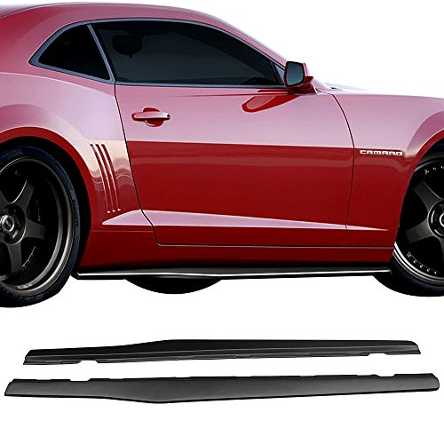 Side Skirts Fits 2010-2015 Chevy Camaro | Ikon Style Black PP Sideskirt Rocker Moulding Air Dam Chin Diffuser Bumper Lip Splitter by IKON MOTORSPORTS| 2011 2012 2013 2014 ()
