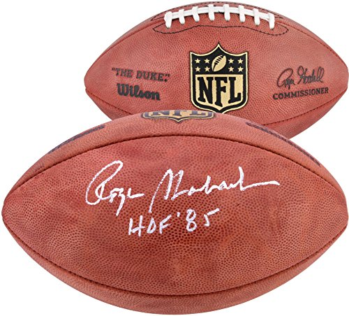 (Roger Staubach Autographed Duke Pro Football with HOF 85 Inscription - Fanatics Authentic Certified - Autographed Footballs)