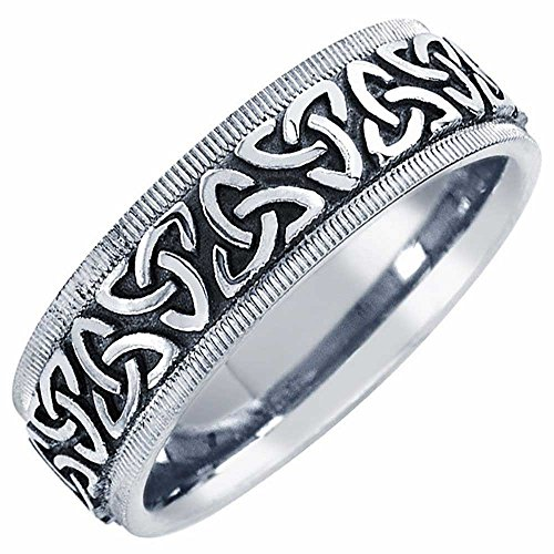 18k White Gold Celtic Knot (18K White Gold Celtic Knot Women's Comfort Fit Wedding Band (7mm) Size-8c1)