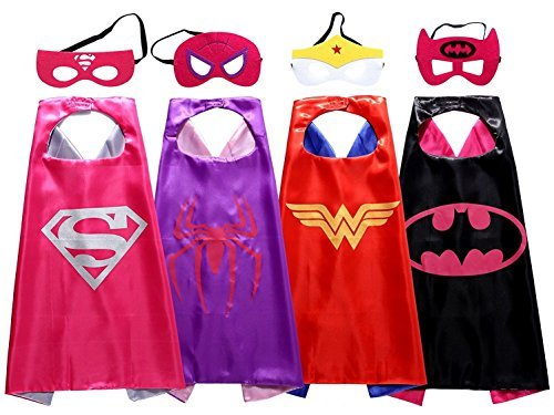 Asgift Comics Cartoon Dress Up Costumes 4 Pcs Satin Capes with Felt Masks for...