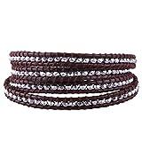 C·QUAN CHI Leather Wrap Bracelet Handwoven Beaded Wrap Bracelet Bohemian Jewelry Healing Bracelet Charm Jewelry Women Gifts Teen Girl, 4 Wraps Adjustable Bracelets Handmade