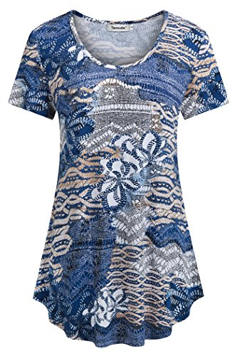 Tencole Purple Shirts for Women Plus Size, Womens Tops and Blouses for Work Tunic Tops Short Sleeve XL Blue Apricot ()