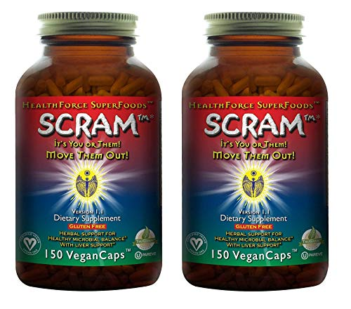 HealthForce SuperFoods Scram - 150 Vegan Capsules - All Natural Internal Parasite Cleanse, Anti Fungal, Anti Yeast - Non GMO, Gluten Free - 2 Pack ()