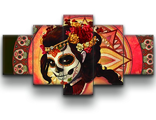 HD Printed Day of the Dead Face Group Painting on Canvas Posters and Prints Pictures Wall Art for Living Room Modern Home Decor Gallery-wrapped Canvas Art 5 Piece Set Framed (60''W x 32''H)