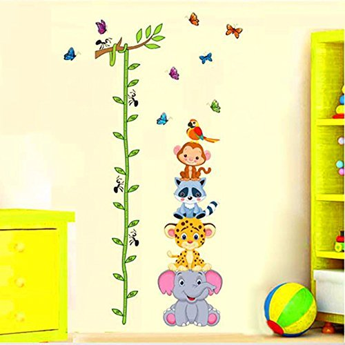 Raccoon Cartoon Animal - ufengke Cartoon Animals Cute Raccoon Monkey Elephant Leopard and Tree Vines Height Chart Decals, Children's Room Nursery Removable Wall Stickers Murals