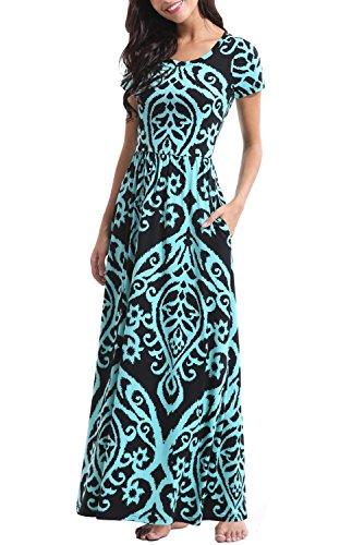 Zattcas Womens Floral Maxi Dress Pockets Short Sleeve Casual Summer Long Dress …
